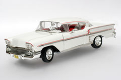 1958 Chevrolet Impala metal scale toy car. Picture of a 1958 Chevrolet Impala. Detailed scale model from my brothers toy collection Stock Photo