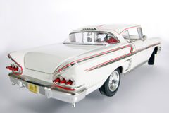 1958 Chevrolet Impala metal scale toy car wideangel #2. Picture of a 1958 Chevrolet Impala. Taken with extrem wideangel as a highkey picture. Detailed scale Stock Photo