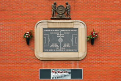 1958 Munich Memorial. A memorial to the footballers who lost their lives in the 1958 Munich air crash on the East Stand, Old Trafford, Manchester United in Royalty Free Stock Image