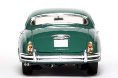 1959 Jaguar Mark 2 metal scale toy car backview. Picture of a 1959 Jaguar Mark 2. Detailed scale model from my brothers toy collection Royalty Free Stock Images