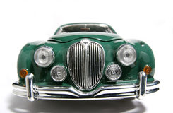 1959 Jaguar Mark 2 metal scale toy car fisheye frontview. Picture of a 1959 Jaguar Mark 2. Taken with a fisheye lens as a highkey picture. Very hard to flash as Royalty Free Stock Photos