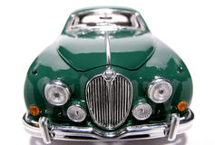 1959 Jaguar Mark 2 metal scale toy car fisheye frontview #3. Picture of a 1959 Jaguar Mark 2. Taken with a fisheye lens as a highkey picture. Very hard to flash Royalty Free Stock Image