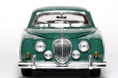 1959 Jaguar Mark 2 metal scale toy car frontview. Picture of a 1959 Jaguar Mark 2. Detailed scale model from my brothers toy collection Stock Photos