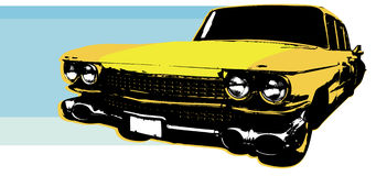 1959 Retro Car. Illustration of a Vintage 1959 Cadillac Car with blue background royalty free illustration