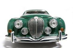 1959 Teken 2 van de Jaguar het stuk speelgoed van de metaalschaal auto fisheye frontview Royalty-vrije Stock Foto's
