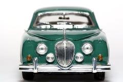 1959 Teken 2 van de Jaguar het stuk speelgoed van de metaalschaal auto frontview stock foto's
