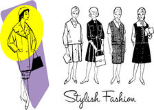 1960 Fashion. 5 ladies fashion stock illustration