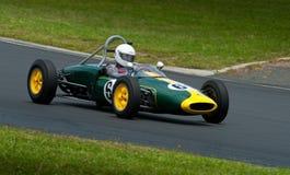 1960 Lotus 18FJ race car. Formula Junior car racing: 1960 Lotus 18FJ at speed at a classic car revival meeting, Hampton Downs race track New Zealand, January stock images
