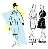1960s Fashion. Three samples of women fashion Stock Image