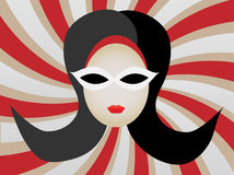 1960s Woman's Head Swirl illustration. Abstract retro mod gal wearing sunglasses editable vector illustration stock illustration