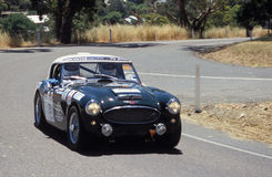 1961 Austin Healey BN 7. A 1961 Austin Healey BN 7, driven by David Brown, races around a bend in the Classic Adelaide Tarmac Rally. Adelaide Hills, South Stock Photos
