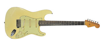 1961 Fender Stratocaster. An original 1961 Fender Stratocaster. This is not a re-issued and made-to-look-old guitar Royalty Free Stock Photo