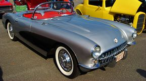1961 Silver Convertible Chevrolet Corvette Royalty Free Stock Photo