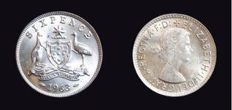 1963 αυστραλιανό ασημένιο νόμισμα εξαπένων Στοκ Φωτογραφία