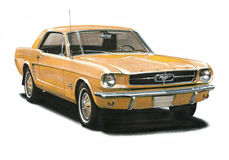 1965年Ford Mustang小轿车 向量例证