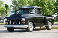 1965 CHEVROLET TRUCK. Picture of the black 1965 Chevrolet Truck stock photos