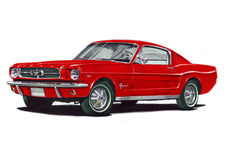 1965 Ford Mustang Fastback. Illustration of a 1965 Ford Mustang Fastback Royalty Free Stock Image