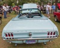 1967年水色Ford Mustang背面图 库存照片
