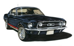 1967 Ford Mustang GT Fastback. Illustration of a 1967 Ford Mustang GT Fastback Royalty Free Stock Photography