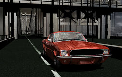 1967 Mustang in Manhattan. Horizontal view of a red 1967 mustang car on Manhattan Bridge Royalty Free Stock Photo
