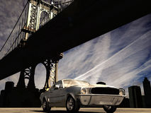 1967 Mustang in Manhattan. A metal grey 1967 mustang car in New York. Manhattan bridge in background Stock Images