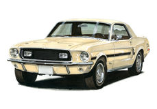 1968 1/2 Ford Mustang GT/CS. Illustration of a 1968 and a half Ford Mustang GT Fastback Stock Illustration