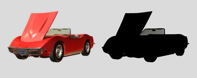 1968 Convertible Sports Car. Digital red car for your artistic creations and/or projects Royalty Free Stock Images