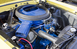 1969 Mercury Cougar 428 Cobra Jet Engine. 1969 to 1970 Mercury Cougar eight cylinder engine, painted blue with blue air cleaner assembly.  Factory original 428 Stock Photo