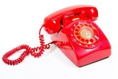 1970 1980 telefon för stil för classicvisartavlahus röda retro Royaltyfri Bild