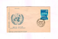 1970 Indian First day cover commemorating UN. First day cover issued by Indian Postal Dept. commemorating 25th Anniversary of United Nations on 26-06-1970 royalty free stock photography