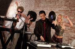 1970s Disco Music Party. Jammin at a 1970s Disco Music Party stock photos
