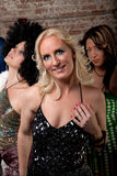1970s Disco Music Party. Blond lady in dress at a 1970s Disco Music Party royalty free stock photo