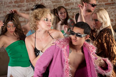 1970s Disco Music Party. Attractive people dancing at a 1970s Disco Music Party stock photo