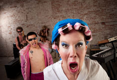 1970s Disco Music Party. Angry neighbor crashing a 1970s Disco Music Party Stock Photography