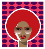 1970s style woman with a red afro hairstyle. Vector illustration of a 1970s style woman with a red afro hairstyle and wearing sunglasses Stock Illustration