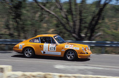 1971 Porsche 911. Cam Arnott's 1971 Porsche 911 racing down to Windy Point hairpin on the 2007 Classic Adelaide Tarmac Rally. Adelaide Hills, South Australia Stock Photos