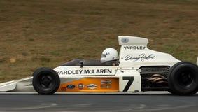 1973年汽车冠军f1 mclaren赛跑速度 免版税库存图片