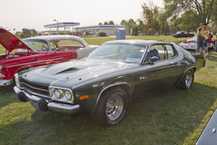 1974 Plymouth Roadrunner. MARION, WI - SEPTEMBER 16: 1974 Plymouth Roadrunner car at the 3rd Annual Not Just Another Car Show on September 16, 2012 in Marion stock images