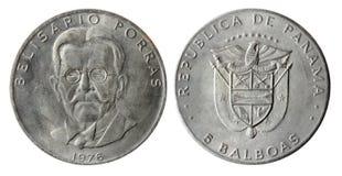 1976枚硬币老巴拿马共和国年 免版税库存照片