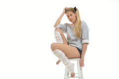 1980's themed shoot - dancer with leg warmers Royalty Free Stock Image