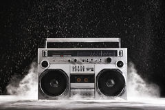 1980s Silver Retro Ghetto Blaster And Dust Isolated On Black Wit Royalty Free Stock Photos