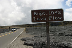 1982 Lava Flow. On the Big Island of Hawaii, a sign lets tourists know they are seeing the effects of a lava flow from 1982 Royalty Free Stock Photos