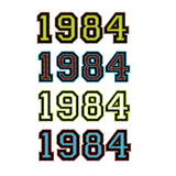 1984 Badge Set. A set of four 1984 badges with stitched dashed lines in assorted colours Royalty Free Stock Photo