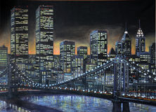 1986 Manhattan painting. Original 1986 oil painting of Manhattan, with the World Trade Center, at night Royalty Free Stock Images