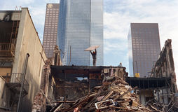 1988 im Stadtzentrum gelegene Los Angeles Demolierung Lizenzfreie Stockbilder