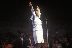 艾瑞莎・弗兰克林唱歌在1992年民主党全国代表大会在麦迪逊广场加登,纽约 库存图片