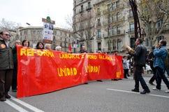 19F - de burgemeester Unie organiseert massief protest in Staaf Stock Foto