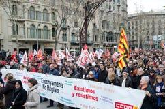 19F - il sindaco sindacati organizza la protesta voluminosa in barra Fotografia Stock Libera da Diritti