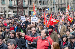 19F - le maire syndicats organisent la protestation massive dans le bar Photo stock