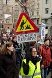 19F - le maire syndicats organisent la protestation massive dans le bar Image libre de droits